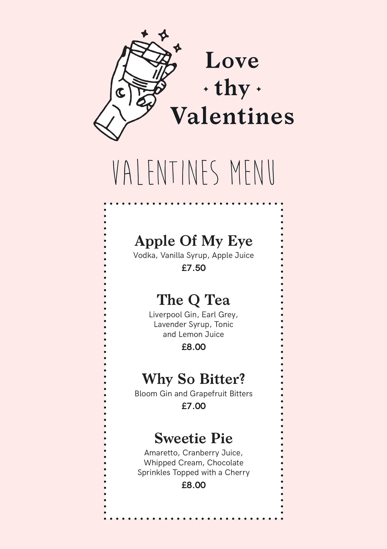 Love Thy Neighbour Valentines Cocktail Menu Food Blogger Travel