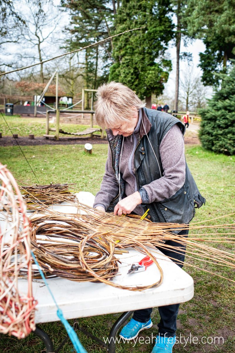 Trentham-Gardens-Staffordshire-Family-Blogger-UK-Kids-Playground-Basket-Weaving-Woman