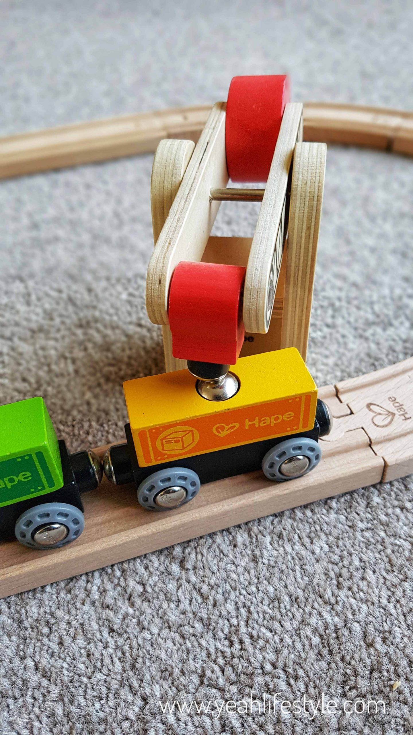 Hape-kids-wooden-train-set-blogger-review-toys-toddler-play-carriages