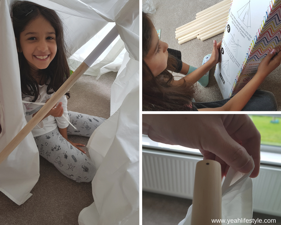 Hobby-Craft-Teepee-Kids-Decorate-Paint-Activity-Blogger-Review-Installing