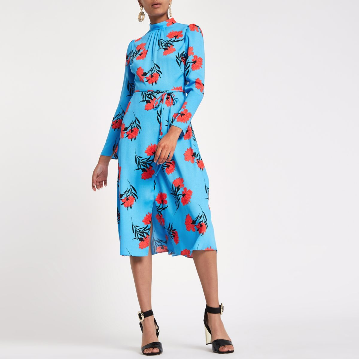 ultimate-style-guide-outfit for in-and out-of-office-River-Island-blue-dress