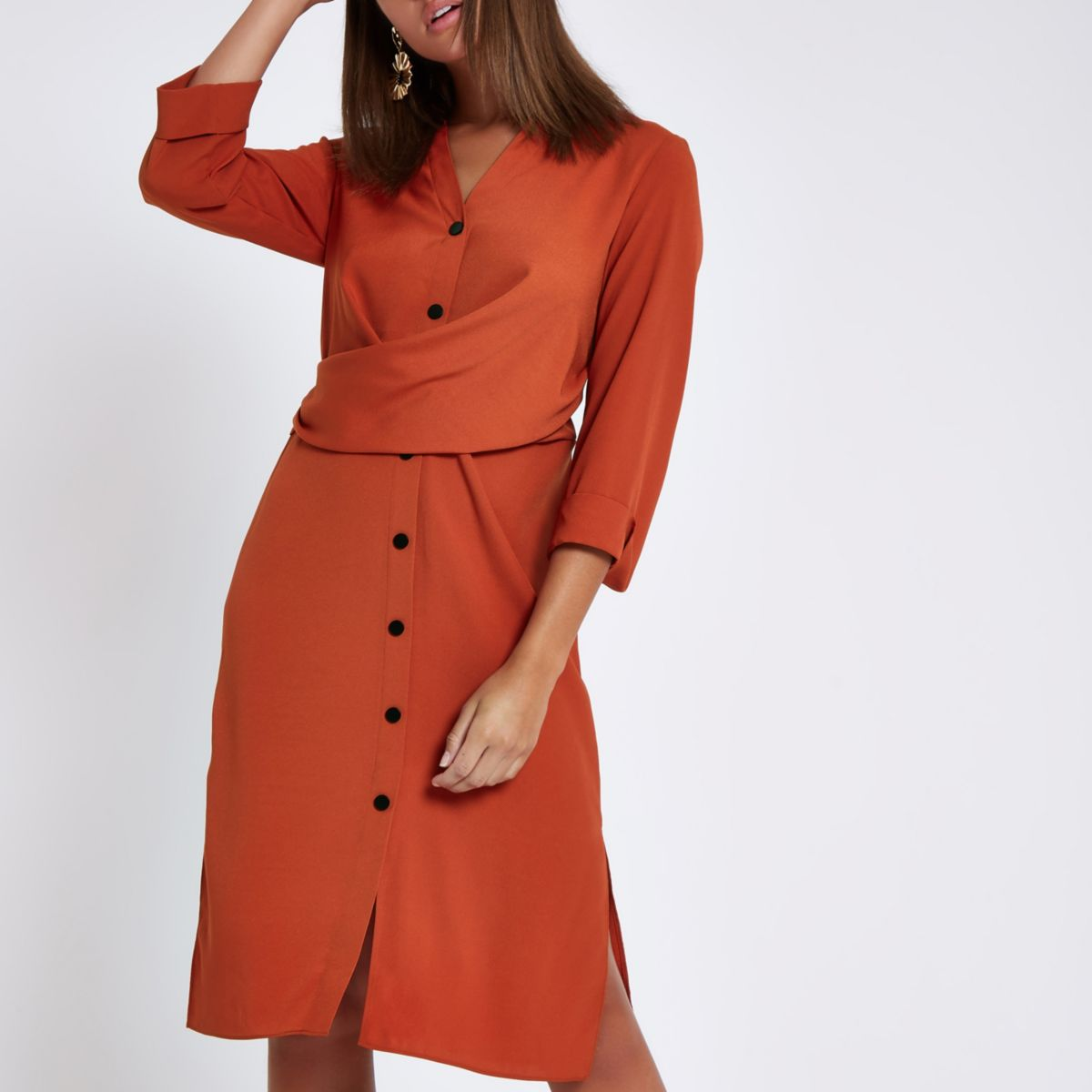 ultimate-style-guide-outfit for in-and out-of-office-River-Island-orange-twist-midi-shirt-dress
