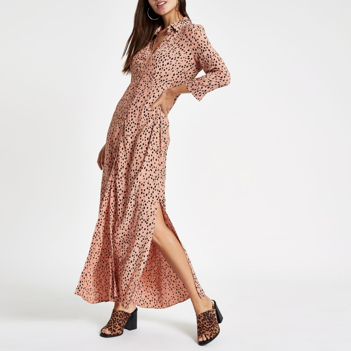 ultimate-style-guide-outfit for in-and out-of-office-River-Island-spot-print-maxi-dress